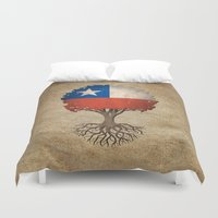 chile Duvet Covers featuring Vintage Tree of Life with Flag of Chile by Jeff Bartels