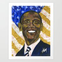 obama Art Prints featuring Obama by Stan Kwong