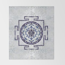 Sri Yantra  / Sri Chakra Gemstone and pearl Throw Blanket