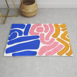 Colorful Minimalist Mid Century Modern Shapes Pink Ultramarine Blue Yellow Ochre Tribal Maze Pattern Rug