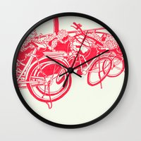 bicycles Wall Clocks featuring On Paper: Tokyo Bicycles by Anton Marrast