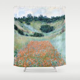 Poppy Field in a Hollow near Giverny by Claude Monet 1885 Shower Curtain