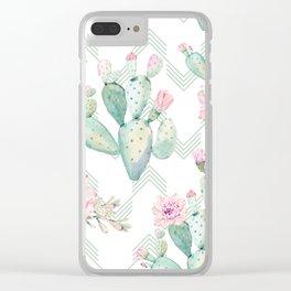 Cactus Chevron Southwestern Watercolor Clear iPhone Case