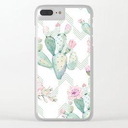 Cactus Chevron Southwestern Watercolor Clear iPhone Case