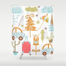Travl patter 4b Shower Curtain