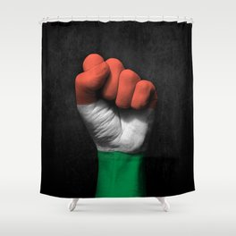Hungarian Flag on a Raised Clenched Fist Shower Curtain