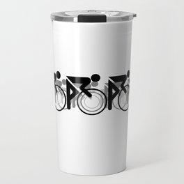 The Bicycle Race 2 Black On White Border Travel Mug