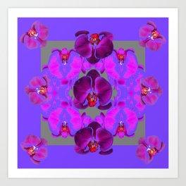 Modern  Abstracted Dark Purple Moth Orchids  Lavender Art Art Print