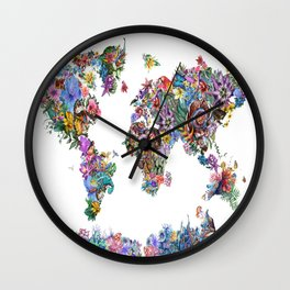 tropical floral world map Wall Clock