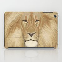the lion king iPad Cases featuring king lion by Ewa Pacia