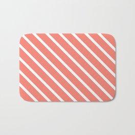 Coral Pink Diagonal Stripes Bath Mat