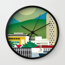 Rio de Janeiro, Brazil - Skyline Illustration by Loose Petals Wall Clock