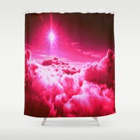 hot pink Shower Curtains featuring Hot Pink Clouds by 2sweet4words Designs