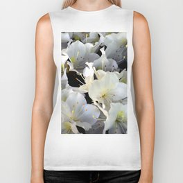 White Blossoms in Verona Flower Shop, Italy Biker Tank