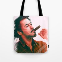 robert downey jr Tote Bags featuring Mr Downey, Jr. by Thubakabra