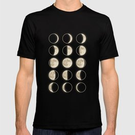 shiny moon phases on black / with stars T-shirt