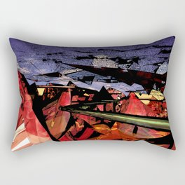 Futuristic Sci-Fi Landscape Digital Wallart 3D Mountains Road Rectangular Pillow