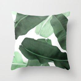 Green Banana Leaf Throw Pillow