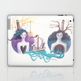 Girl With Dreamy Lighthouse Sending Ocean to Boy with Caged Heart Laptop & iPad Skin