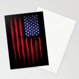Vintage American flag on black Stationery Cards