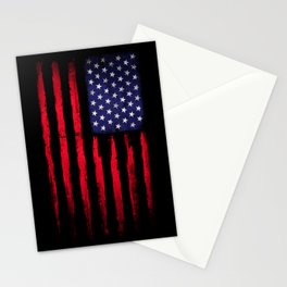 Vintage American flag on black Stationery Cards