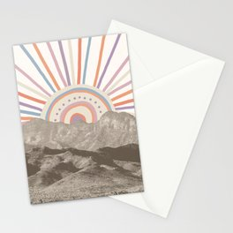 Bohemian Tribal Sun UP / Abstract Vintage Mountain Happy Summer Vibes Retro Colorful Pastel Artwork Stationery Cards