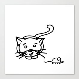 Funny Little Cat And Mouse Canvas Print