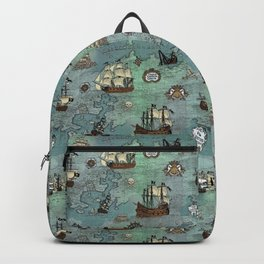 Pirate Ships Nautical Map Backpack