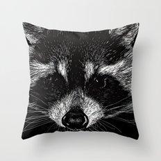 The Curious Raccoon Throw Pillow