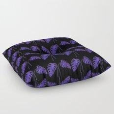 Indigo Monstera Leaf Watercolor on Black Floor Pillow