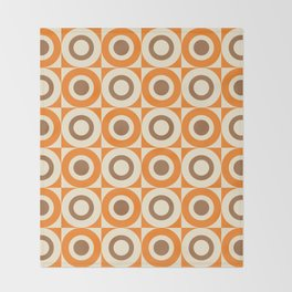 Mid Century Square and Circle Pattern 541 Orange and Brown Throw Blanket