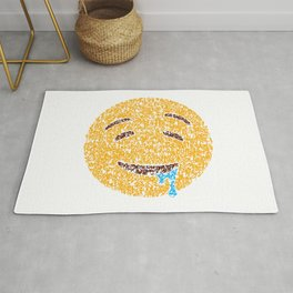 Emoji Art Calligraphy :Drooling face Rug