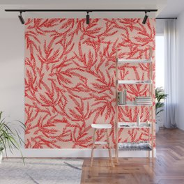 Red Coral Ferns Wall Mural
