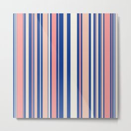 Pink Blue and Orange Stripes Metal Print