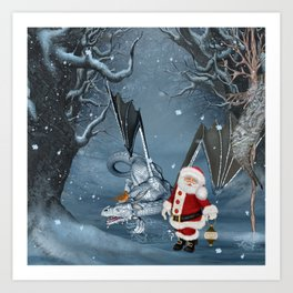 Santa Claus with ice dragon in a winter landscape Art Print