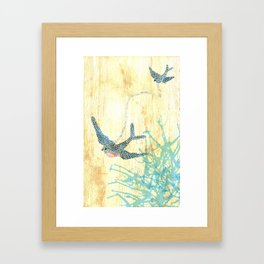 Birds of blue Framed Art Print