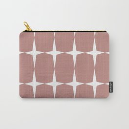 Atomic Age Starburst Pattern in 50s Pink and White. Minimalist Monochrome Mid-Century Modern Carry-All Pouch