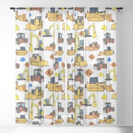 Construction Vehicles Pattern Sheer Curtain
