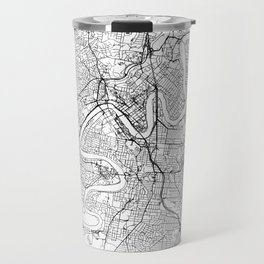 Brisbane City Map Australia White and Black Travel Mug