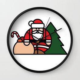 Santa Claus, bag of toys and Christmas tree Wall Clock