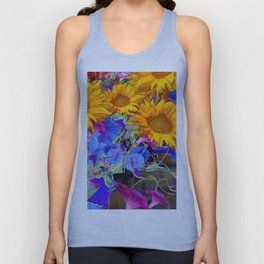 LARGE YELLOW SUNFLOWERS & BLUE MORNING GLORIES FLORAL Unisex Tank Top