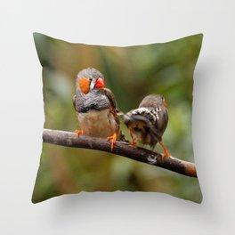 Shake that Booty, Zebra Finch! Throw Pillow