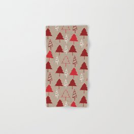 Christmas Tree Red and Brown Hand & Bath Towel