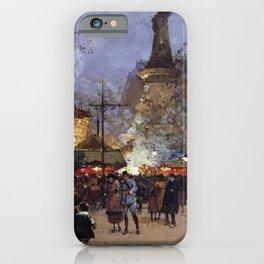 Place de la Republique, Paris, France by Eugene Galien Laloue iPhone Case