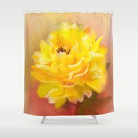 dahlia Shower Curtains featuring Dahlia by Mary Timman