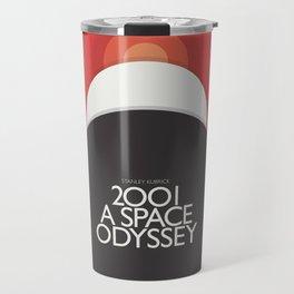 2001 A Space Odyssey - Stanley Kubrick minimalist movie poster, Red Version, fantasy film Travel Mug