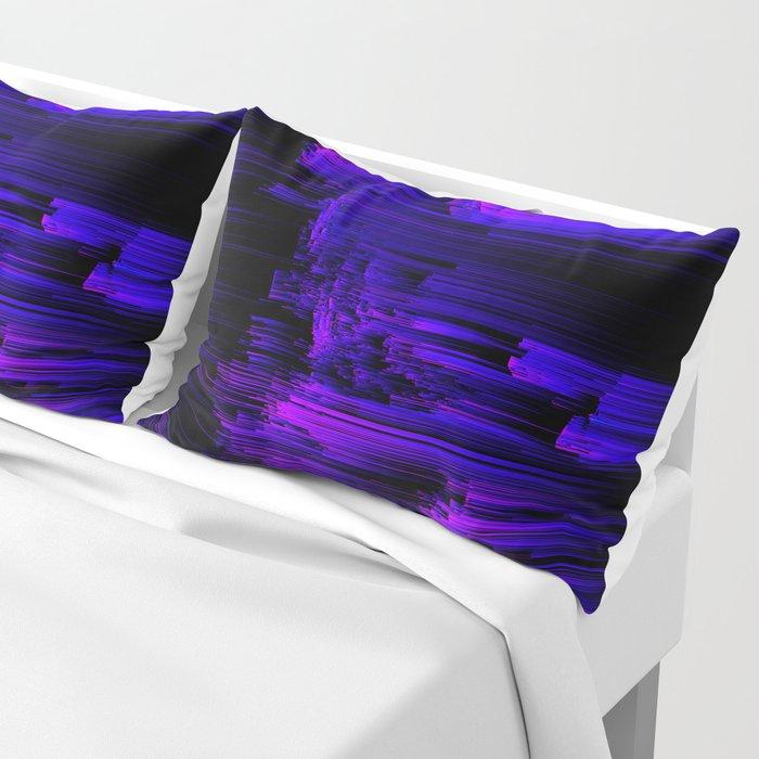Ultraviolet Light Speed - Abstract Glitch Pixel Art Pillow Sham