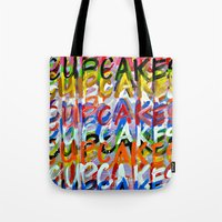 cupcakes Tote Bags featuring CUPCAKES by Claudia McBain