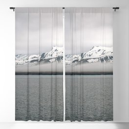 Fog between Arctic Ocean and glacier mountains Blackout Curtain