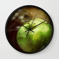 apple Wall Clocks featuring Apple  by Bella Blue Photography
